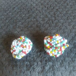 Vintage Seed Bead Earrings Clips Confetti Clip On